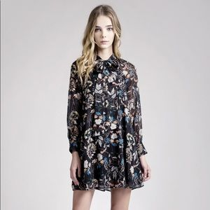 Moon River Tie Front Floral Chiffon Dress